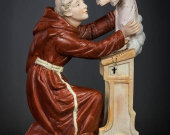 A RARE Antique Saint Anthony with Child Jesus Bisque Porcelain Statue Figure Baby Christ