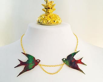 Sunset swallow necklace - Bird flying jewellery - Colorful jewelry birds - Gift for sister - Gifts for her - Bridesmaid gift - Bird necklace