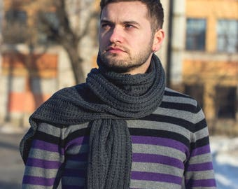100% merino wool Grey Wool Long Scarf For Men. Men's Scarf. Long Wool Scarf Hand Knit Scarf. For Him, Men's Accessories, Perfect Gift