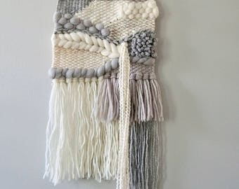 Woven Wall Hanging / Weaving / Tapestry / Wall Art / Nursery Decor / Home Decor / Grey, White, Neutral