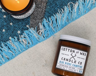 Blue Ridge Campfire Soy Candle | scented candles | firewood smoke pine forest | hand poured by Cotton and Wax Candle Co.