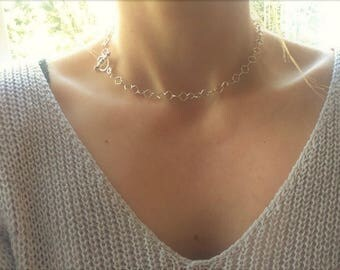 Sterling silver everyday necklace, geometric choker, diamond choker, simple necklace, toggle necklace, edgy choker, teen gift