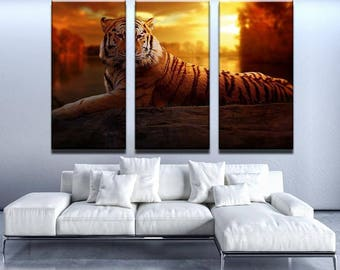 Majestic Tiger Canvas Set | Animal Canvas Set | Animal Poster | Animal Wall Decor | Tiger Wall Print | Tiger Wall Art | Tiger Poster |