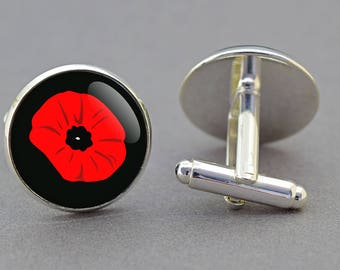 Poppy cufflinks. Rememberance day. Anzac day. Royal British Legion charity. Silver, Gold, Bronze finish. Matching Tie Clip.