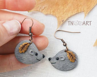 Cute Hedgehog Earrings/ handmade polymer clay jewelry / clay miniature forest animal hedgehog autumn leaves leaf
