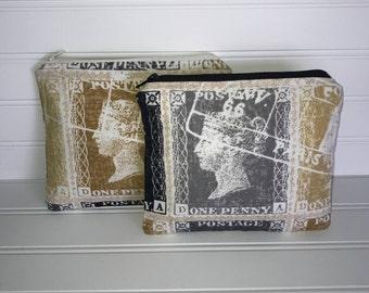 Handmade Zipper Pouch | Queen Victoria Stamp Fabric