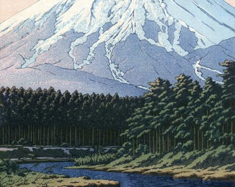 "Japanese Art Print ""Mt. Fuji Seen from Oshino"" by Kawase Hasui, woodblock print reproduction, mountain, landscape, forest, stream, Japan"