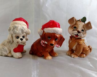 Josef Originals, Christmas Puppy; CHOICE; Poodle or Dachshund or Boxer, Vintage 1960s, Animal Shelter