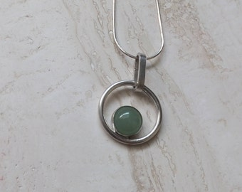 Silver Pendant with green Aventurine gemstone