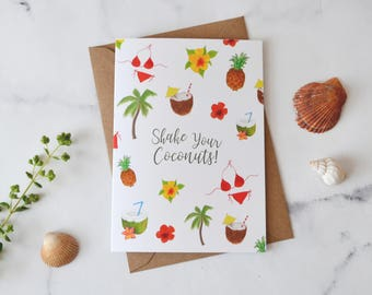 Tropical Shake Your Coconuts Illustration Birthday Card