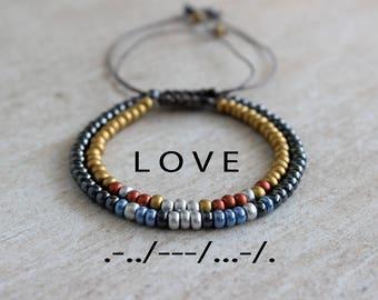 His and Hers Bracelet Love Bracelet Boyfriend Gift Boyfriend Girlfriend Bracelet Love Couples Morse Code Bracelet Long Distance Relationship