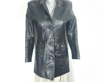 Women's Leather Jacket -  Black Leather Jacket -  1970s -  Double-Breasted Long Leather Trench Coat Style Jacket .