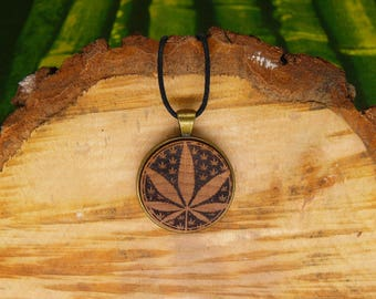 "Soul slices ""leaf 1"" 30mm bronze + wood necklace, vintage * Ethno * hippie * MUST have * statement *"