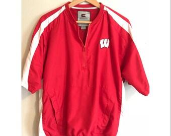 Vintage Wisconsin Badgers Short Sleeve Windbreaker Vintage Badgers Pullover Half-Zip Jacket Vintage University of Wisconsin Badgers SIZE M