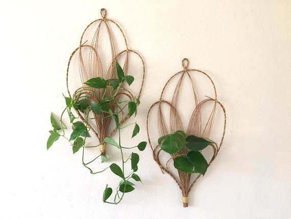 Wicker wall hangings with pocket