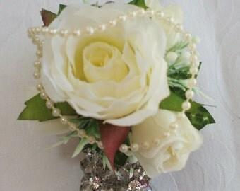 white rose wrist corsage. Wedding corsage bracelet