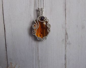 Resin Amber Wire Wrapped Pendant