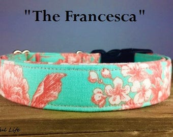"Girly Teal Coral Floral Dog Collar - ""The Francesca"""