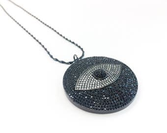 Black Sterling Silver 925 Twisted Chain with Evil Eye Micro Pave CZ Rhodium Pendant