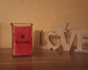 """Candle in glass """"#Unzertrennlich"""" print decoration glass Lantern"""