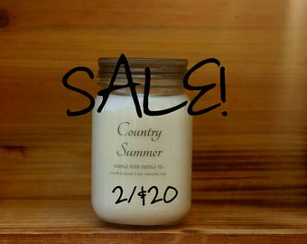 Summer Sale! 16 oz. Scented Soy Candle - 2 for 20 - Stock up on our Summer Scents - Soy Candles Homemade