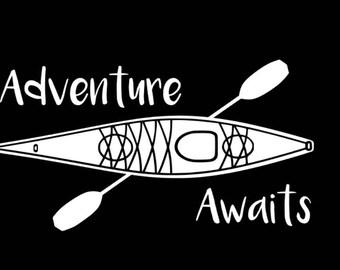 Kayak Decal, Adventure Awaits, Adventure Decal, PNW, Vinyl Kayak Decal, Kayak Sticker, Car Decal