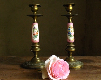 19th century Napoleon III fire-gilt bronze and porcelain de Limoges candle holders