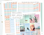 Pastel Beach Vibes - Weekly Kit for Classic Happy Planner   Printable Planner Stickers   Instant Download   Incl. Silhouette Cut File