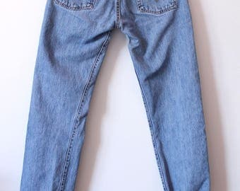 Vintage Levis 501 Mom Jeans High Waisted Denim Light Wash Long Button Up 90s Distressed Grunge W30 / W29