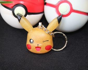 Kawaii Pokemon Pikachu Glitter Resin Keychain