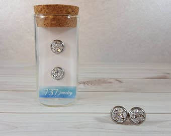 Silver Druzy Earrings, Silver Druzy Stud Earrings, Druzy Stud Earrings Silver, Silver Faux Druzy Earrings, Silver, 8mm Silver Druzy Stud