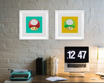 Mario   Mushroom   Nintendo   Pop Art   Posters   Set of 2