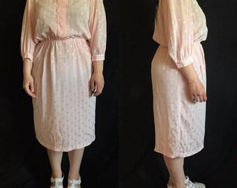 Vintage PLUS SIZE 1980s Pink Patterned Dress (Size 16)