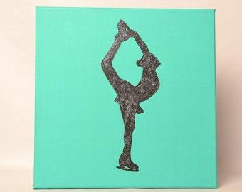 Figure Skater Painting-Aqua 12x12-Biellmann Spin