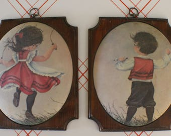 Beautiful Matching Convex Wall Paintings / Girl Jumping Rope and Boy Flying Kite / Red Dress & Red Vest