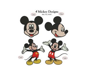 Mickey Mouse Embroidery - Mickey Mouse Embroidery Design - 4 mickey designs 4x4, 5x7, 6x10 instant download mickey mouse face embroidery
