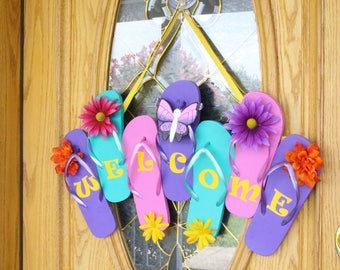 Flip Flop Welcome Sign Door Hanger