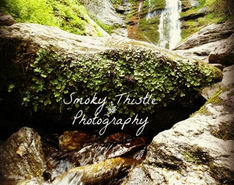 Waterfall Photography, Smoky Mountains, Nature Photography, Earth Tone, Moss Green, Toms Creek Falls, Pisgah National Forest, Gifts Under 25