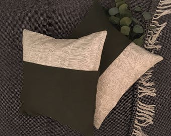 Green Linen and Leaf Print Cushion Cover
