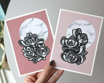 2 handmade greeting cards, pink florals and marble