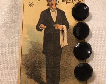 Vintage Buttons - Black Celluloid Faceted Buttons Set of 4