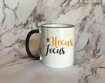Hocus Focus Black Rim Coffee Mug, Funny Halloween Mug, Spider Coffee Mug, Halloween Coffee Mug, Fall Mug