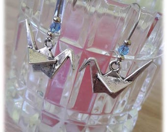 Silver 3D origami bird earrings