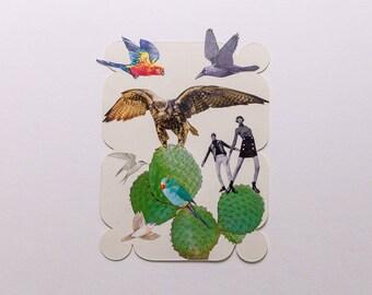 birds and cactus, original paper collage