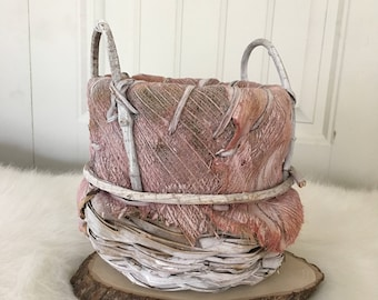 White & Pink Vintage  Handmade Palm Leaf Basket. Medium Size. Unique. One of a Kind. Hand Dyed.