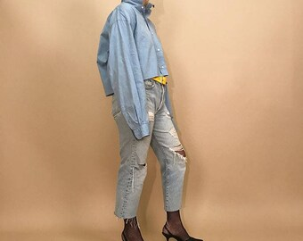 Oversized cropped blue menswear shirt L