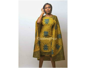 African print cape dress / African dresses / African midi dress / African clothing / Ankara midi dress / African print dress for women