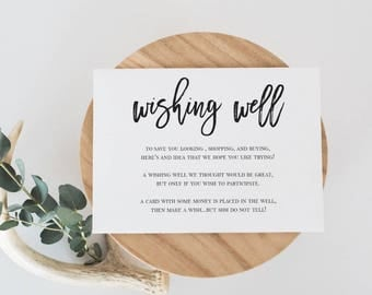 Wishing Well Card Template Black and White Laurel Wishing Well Card DIY Modern Wishing Well Calligraphy Card Wedding insert Editable  #WP40