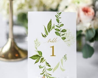 Greenery Wedding Modern Wedding Seating Chart Table Numbers Editable Table Numbers Template Seating chart Template Table Numbers Template