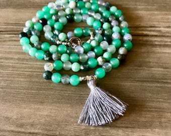 Jade, Jasper, & Green Aventurine Mala and Wrap Bracelet